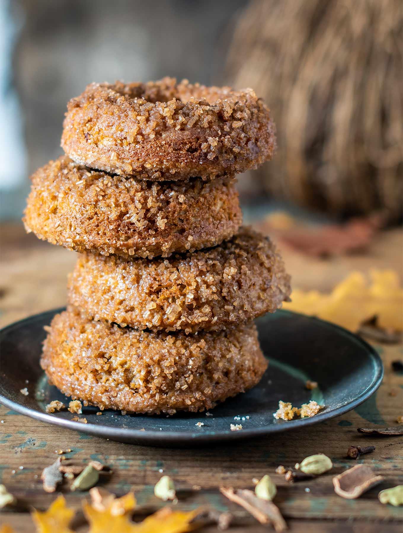 stack of sugared cardamom donuts