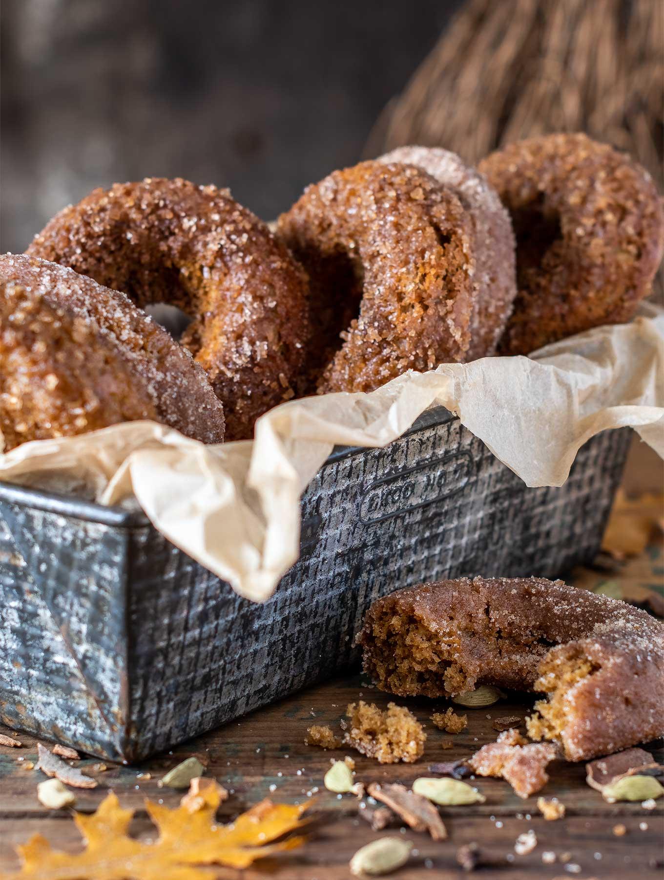 tin full of cardamom donuts