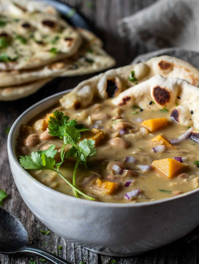 Close up of thai green curry chicken chili