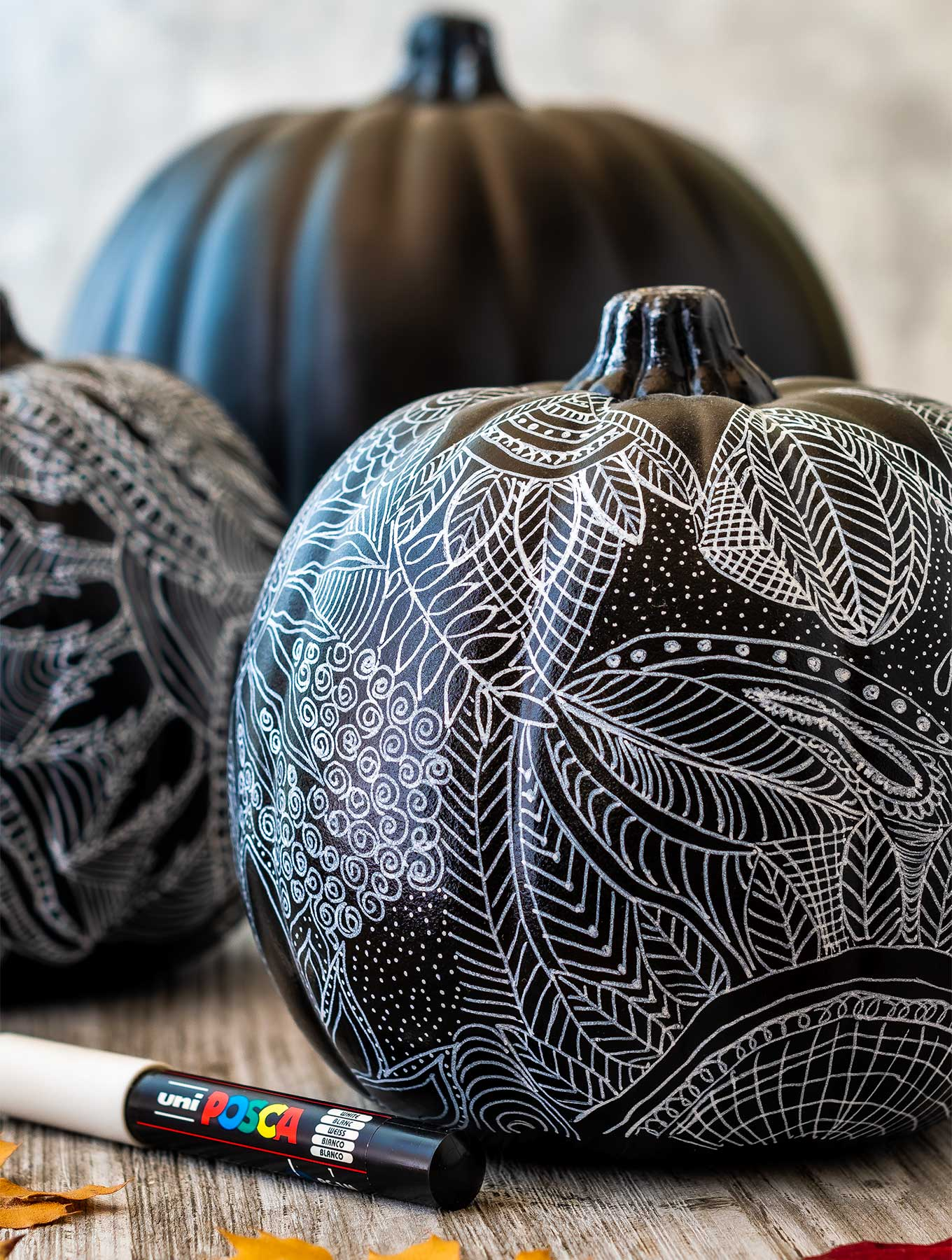 Close up of black and white zentangle pumpkin