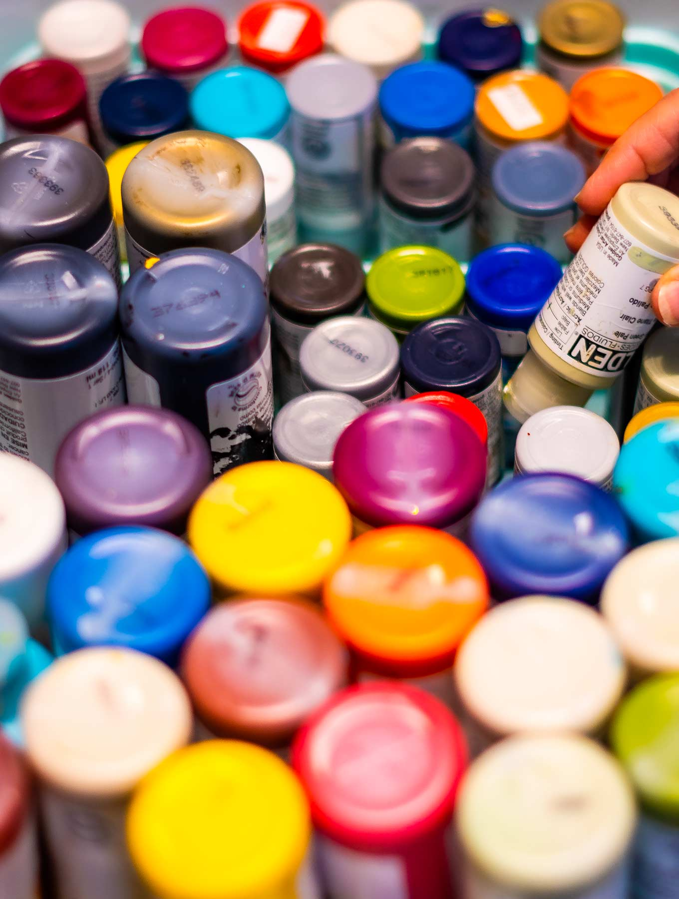 Collection of bottles of colored paints
